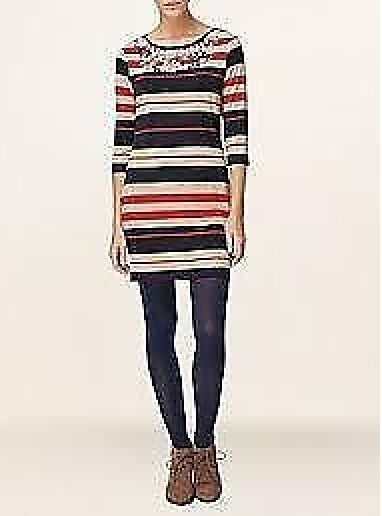 NUOVO OTTO Navy rosso Phase & Tunica a Righe Beige Beige Beige INGA Dress Sz 2d8400
