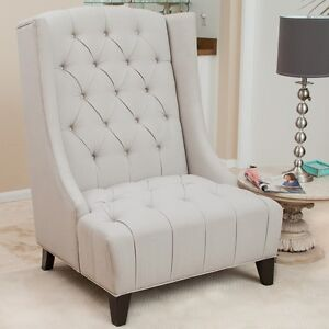 Tall Wingback Upholstered Armchair W Tufted Backrest Amp Seat