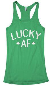 ff1297216 Lucky AF Women's Racerback Tank Top St. Patrick's Day Irish Shamrock ...