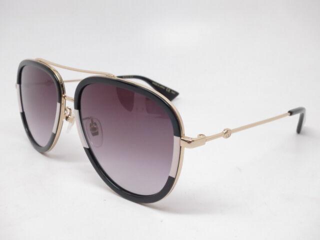 650f670ed New Authentic Gucci GG0062S 006 Black/Gold w/Grey Gradient Sunglasses GG  0062S