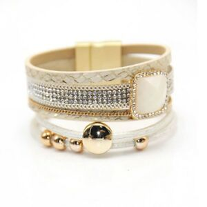 Women-Magnetic-Clasp-Multilayer-Leather-Beaded-Crystal-Bangle-Bracelet-Chain-New