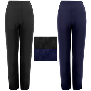 LADIES-STRAIGHT-LEG-TROUSERS-WOMEN-RIBBED-STRETCH-SOFT-PULL-ON-BOTTOM-PANTS-8-26