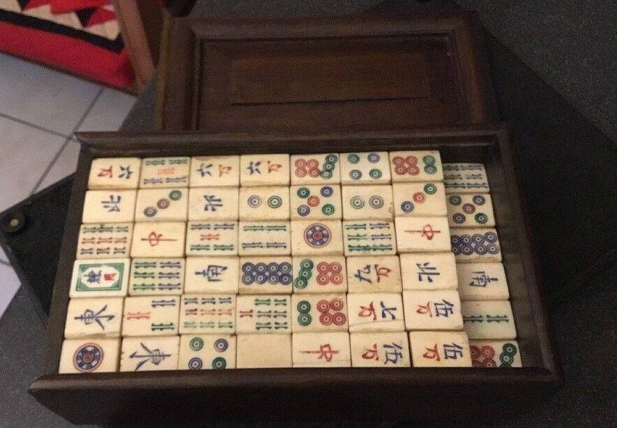 Antik Vintage Kinesiskt Mahjong Game- träen Cased - små Neat Set
