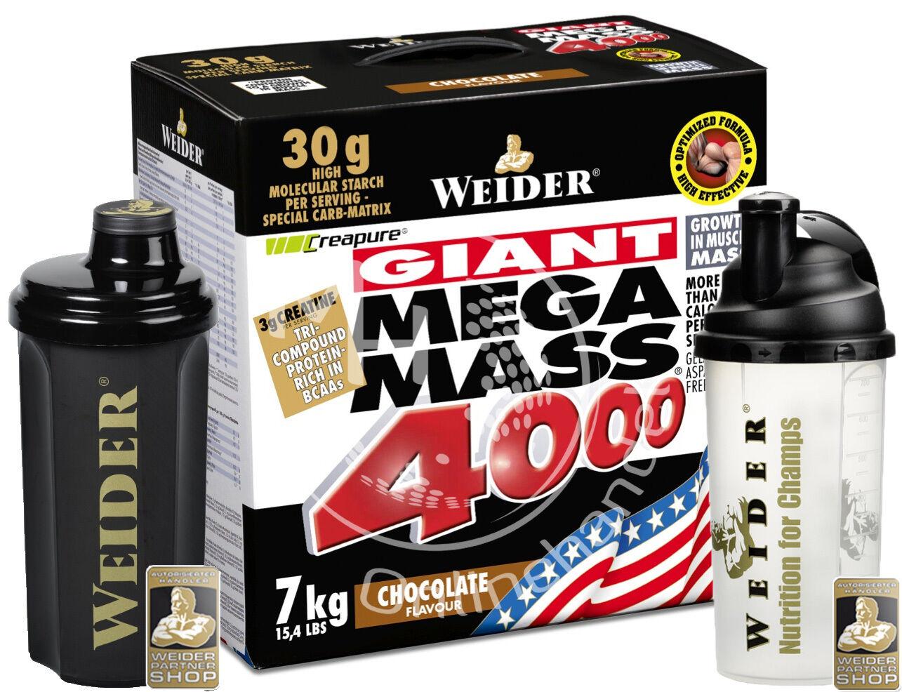Weider Mega Mass 4000 ( /Kg) 7kg Karton +SHAKER CREAPURE   Hardgainer CREAPURE +SHAKER 70113c