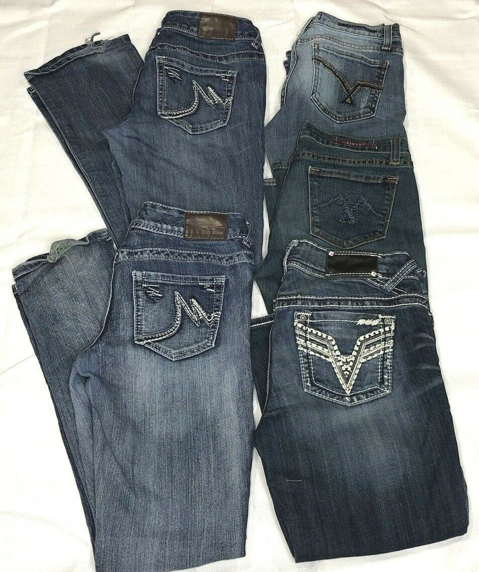 Lot of 5 Vigoss Maurices Womens Jeans Size 3 & 3 - 4