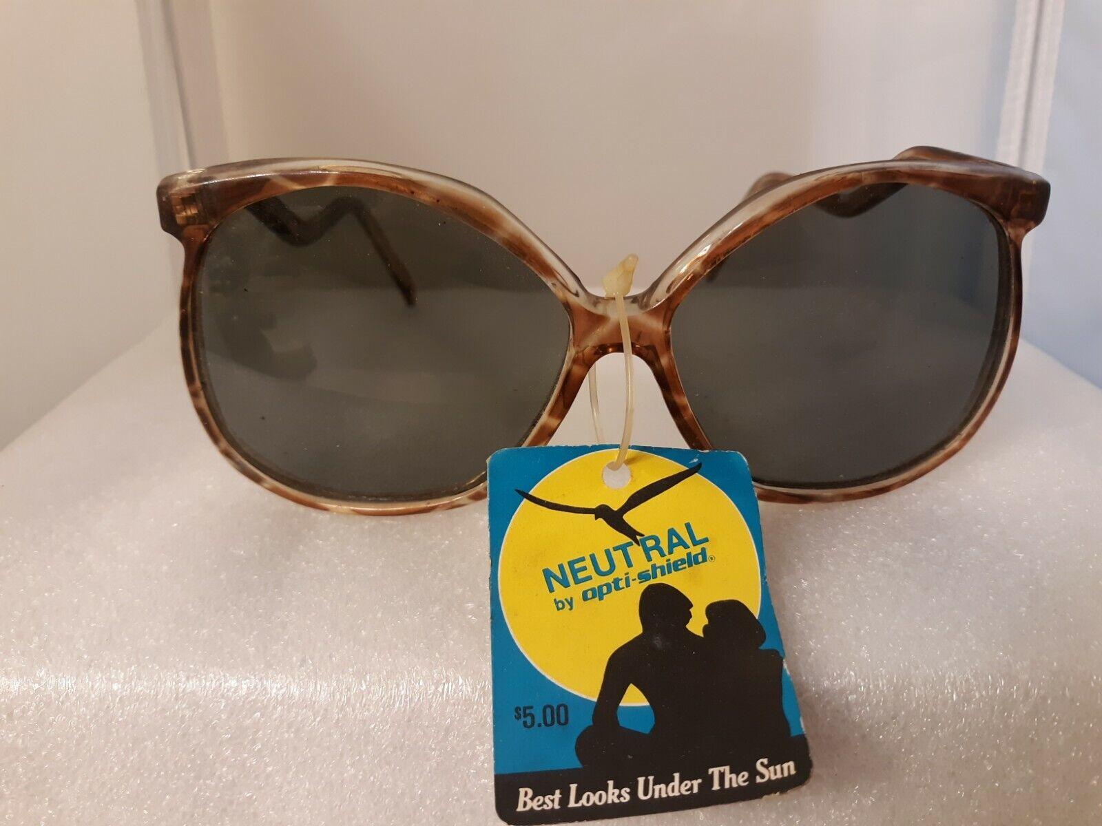 Vtg 80s Opti-Shield Retro Sunglasses NOS Mod Korea Fashion Accessories
