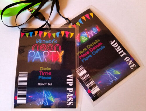 Personalised Neon Glow in the Dark Party Lanyard for Birthday Party Invites