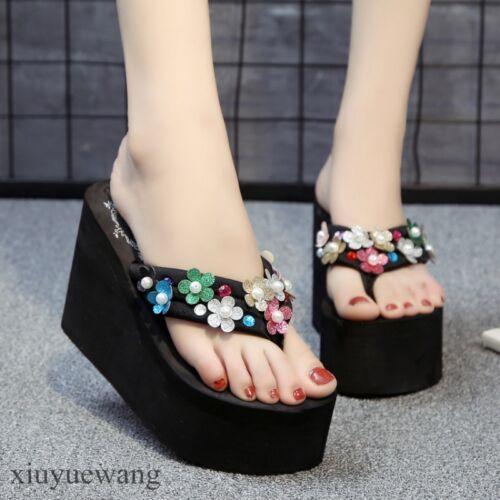 Heel Flip Flops Platform Fashion Slippers Beach Shoes Women High Wedge
