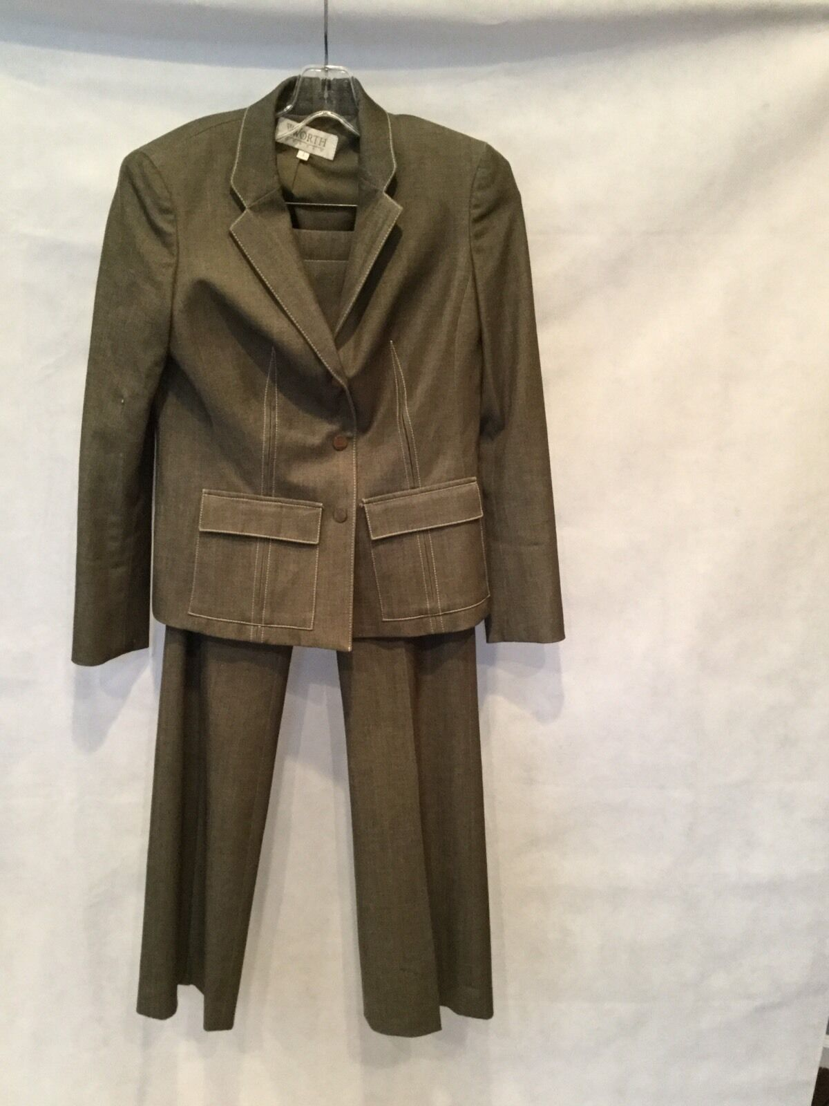 9678df451 WORTH PETITE BLEND 4 SIZE DETAIL-OLIVE WHIPSTICH PANTSUIT STRETCH ...