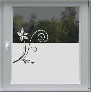 fensterfolie sichtschutz milchglasfolie k che bad wc b ro glasdekor deco blume ebay. Black Bedroom Furniture Sets. Home Design Ideas