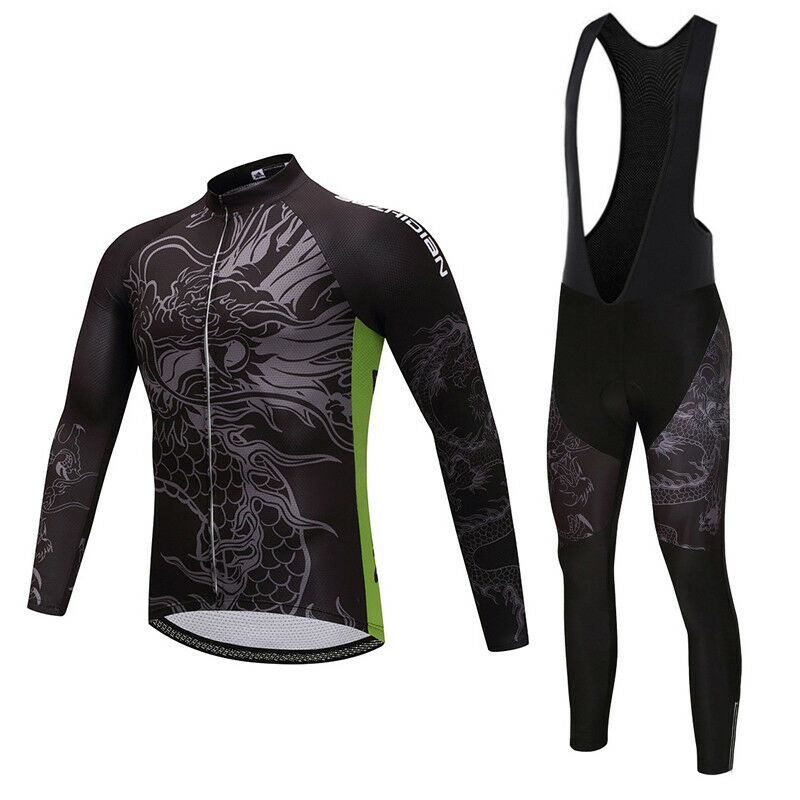 Loong Men's Bike Clothing Set Long Sleeve Cycle Jersey & Padded (Bib) Pants Kit
