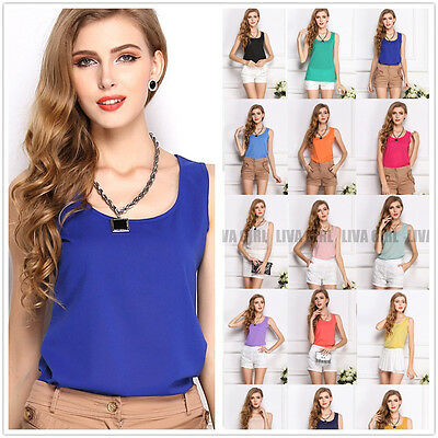 Fashion Womens Summer Casual Chiffon Vest Tops Tank Sleeveless Shirt Blouse