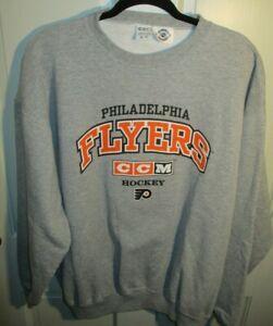 CCM Philadelphia Flyers Spell Out Graphic Men's Gray Sweatshirt XL NHL HOCKEY