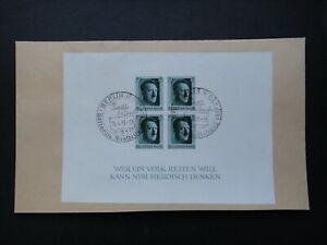 Germany Nazi 1937 Stamps Cover Sheet Adolf Hitler WWII Third Reich German Deutsc
