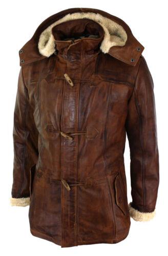 3 Winter Fur Safari Long Hooded Real Leather Brown 4 Tan Men's Jacket pxwq05Xn