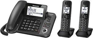 Panasonic-KX-TGF382M-Link2Cell-Bluetooth-Corded-Cordless-Phone-System-2-Handsets