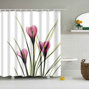 Details About SHOWER CURTAIN CREATIVE NATURAL DESIGN POLYSTER PANEL DRAPES FLOWER LEAVES