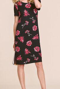 NEW-BM-Ladies-BLACK-red-Floral-Print-Jersey-Tunic-Dress-Size-10-24
