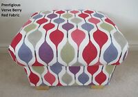 Prestigious Verve Fabric Footstool Pouffe Retro Vintage Diamonds Footstall