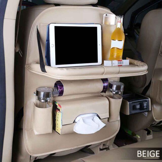 Beige PU Leather Back Seat Organizer Multi-Pocket Storage Bag Car Dining Table