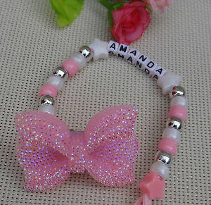 Personalised Stunning Baby Pink Big Bow Dummy Clip Chain For Pram//Car Seat