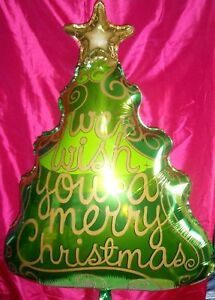 Christmas Tree Balloon.Details About Giant We Wish You A Merry Christmas Tree Foil Balloon Giant 36 Supershape