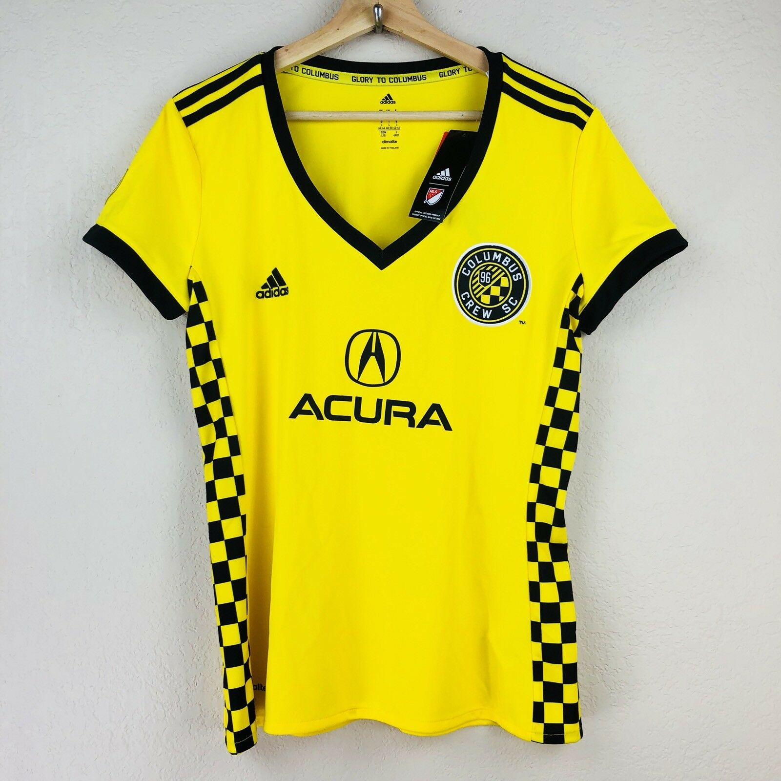 NWT ADIDAS Columbus Crew MLS 2016 Jersey Women SZ Large Acura Yellow V-neck