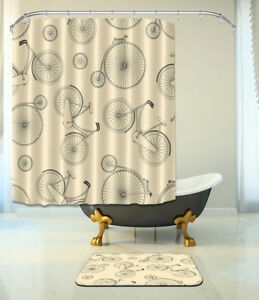 Image Is Loading 72x72 039 Bicycle Shower Curtain Bathroom Waterproof
