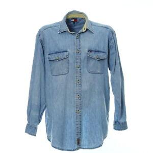 Tommy-Hilfiger-Jeanshemd-Groesse-M-Herren-Langarm-Shirt-Vintage-Hellblau