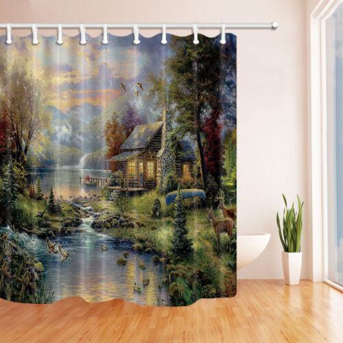 Elk Maison en Forêt de montagne salle de bains Rideau de douche tissu avec 12 hameçons 71*71 pouces