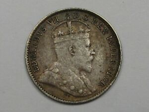 1910-Silver-Canadian-5-Cent-Coin-034-Holly-034-Variety-CANADA-27