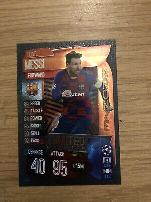 MATCH ATTAX 2019//20 LIONEL MESSI GOLD//SILVER//BRONZE LIMITED EDITION LE5 MINT