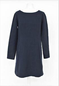 MAX MARA Ladies Navy Blue Boat Neck Long Sleeve Shift Dress w Pockets UK14