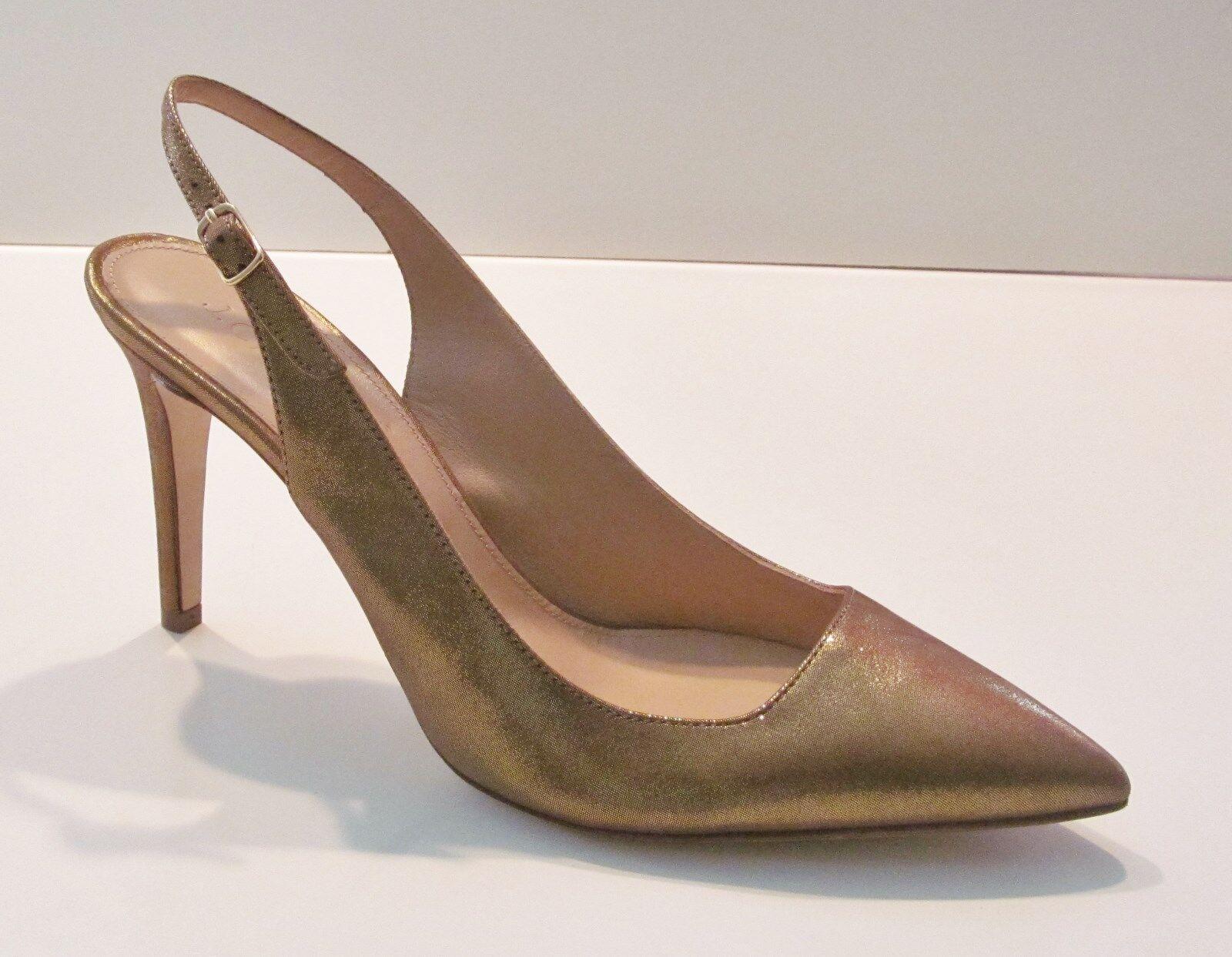 J Crew Metallic Suede Slingback Pumps - size 8.5 heels - Gold Choclolate