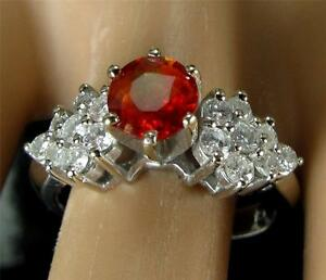 $4500 Estate 1.80CT Padparadscha Sapphire Diamond Engagement Ring 14K White Gold