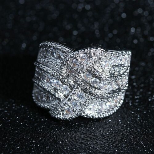 Female Women Size 6-10 Bands Wedding Crystal Sapphire Jewelry Rings