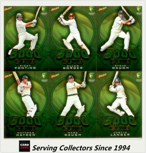 2009-10 Select Cricket Trading Cards 5000 TEST RUNS SUBSET FULL SET (16 Cards)