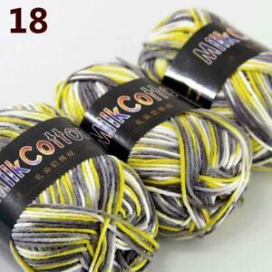 AIP-New-3Skeinsx50g-Soft-DK-Baby-Cotton-Crochet-Yarn-Hand-Wool-Scarf-Knitting-18