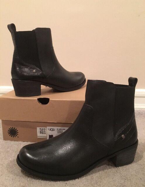UGG sz7 Australia Keller Black Croco Genuine Shearling Lined Leather Boots $170