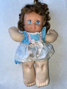Vintage-MATTEL-1989-Brunette-MAGIC-NURSERY-DOLL-Original-Dress-Brown-Hair-14-034