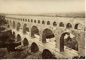 Francia Nîmes Il Ponte Del Gard Albumina Vintage Ca 1880
