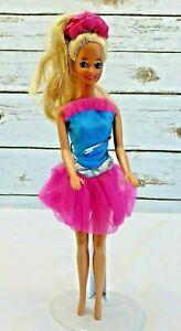 "MATTEL BARBIE Doll Long Blonde Hair Blue Eyes 2 Color Dress 12"" Tall Free Ship"