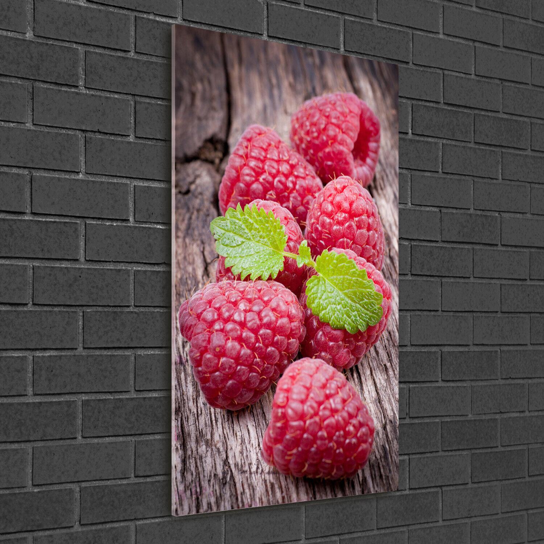 Wandbild Kunst-Druck auf Hart-Glas hochkant 50x100 Himbeeren