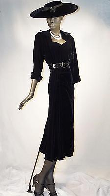 1940s Dress Black Silk Velvet Bias Cut Wiggle Dress with Side Drape Sz 6 # 1083