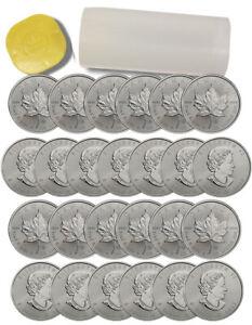 Roll-of-25-2015-Canada-1-oz-9999-Silver-Maple-Leaf-5-BU-Coins-SKU33764