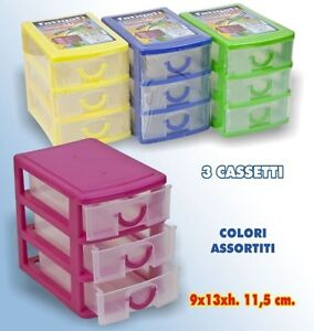 Cassettiere Plastica Per Minuterie.Cassettiera In Plastica 3 Cassetti Contenitore Portaoggetti