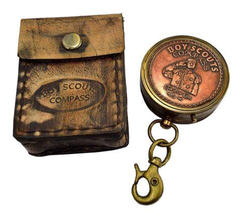 """Antique Navigational Décor Copper Brass /""""Boy Scout/"""" Marine Compass W Case SC 027"""