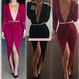 666e81a25a New WomenSexy Party Club Bodycon Bandage Clubwear Long Sleeve Deep V ...