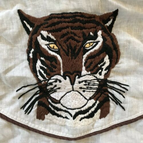 Tiger jaren 1970 Medium Vintage 70s Shirt geborduurde w8nON0kXP