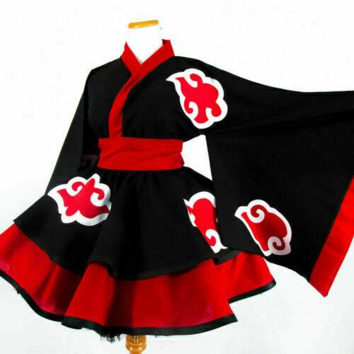 New Akatsuki Female Lolita Kimono Dress Cosplay Costume Custom Made/&T31